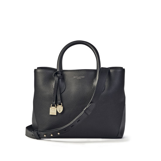 Midi London Tote in Black Pebble from Aspinal of London