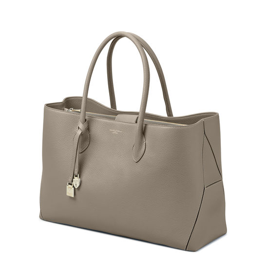 London Tote in Warm Grey Pebble from Aspinal of London