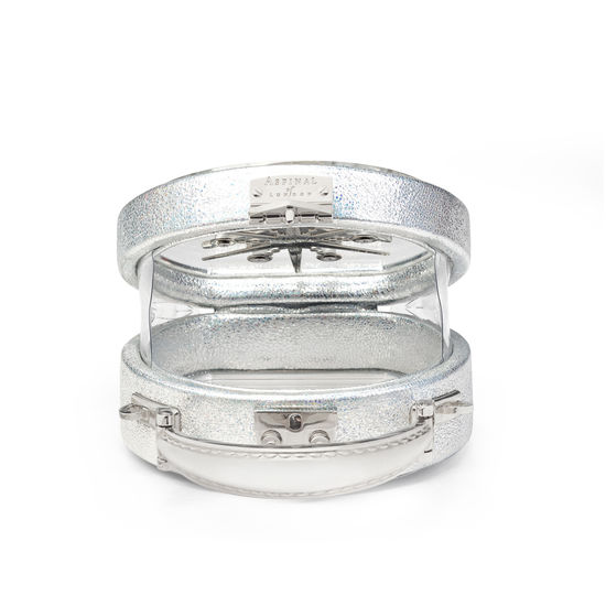 Micro Hat Box in Transparent Acrylic with Silver Stars from Aspinal of London