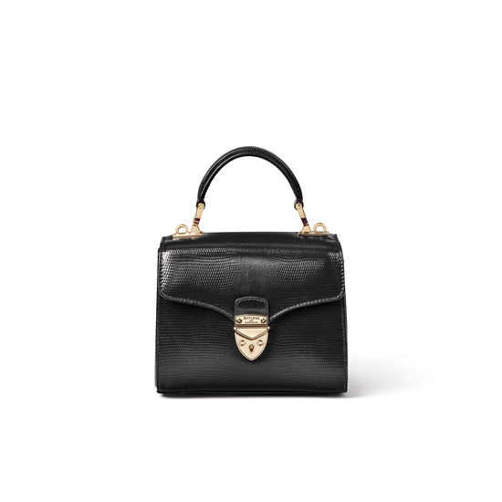 Mini Mayfair Bag in Black Silk Lizard from Aspinal of London