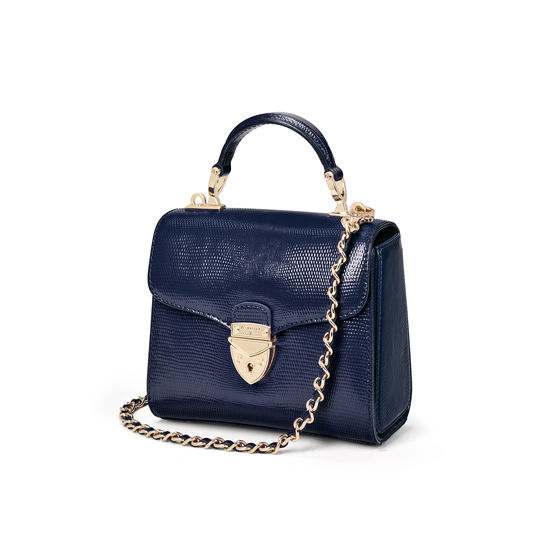 Mini Mayfair Bag in Midnight Blue Silk Lizard from Aspinal of London
