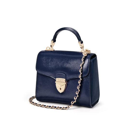 Mini Mayfair Bag in Midnight Blue Silk Lizard from Aspinal of London