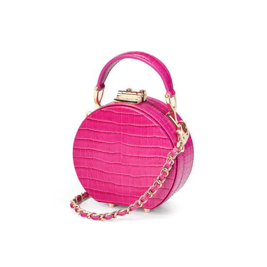 Micro Hat Box in Deep Shine Penelope Pink Small Croc from Aspinal of London