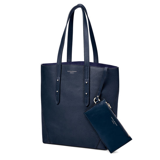 Essential Tote in Navy Pebble (with A-Stitched Side Panels) from Aspinal of London