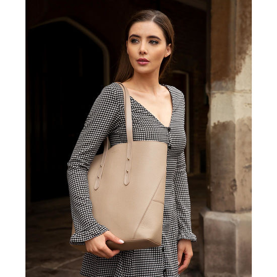 Essential Tote in Smooth Tan (with A-Stitched Side Panels) from Aspinal of London