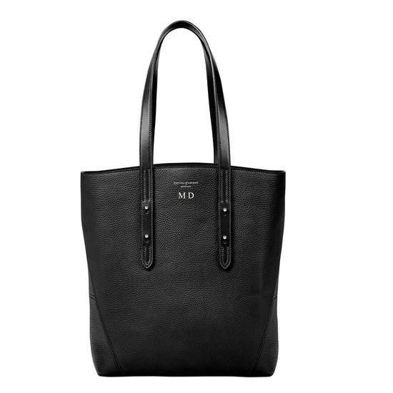 Essential Tote in Black Pebble (with A-Stitched Side Panels) from Aspinal of London