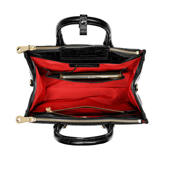 Midi Madison Tote in Deep Shine Black Croc from Aspinal of London