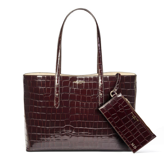 Regent Tote in Deep Shine Amazon Brown Croc from Aspinal of London
