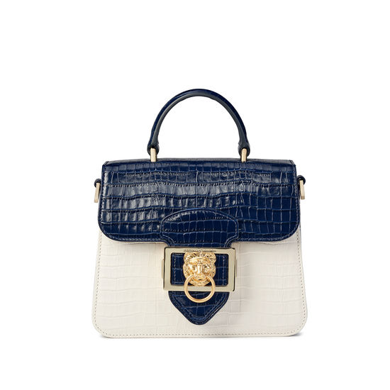 Small Lion Lansdowne Bag in Deep Shine Midnight Blue & Ivory Small Croc from Aspinal of London