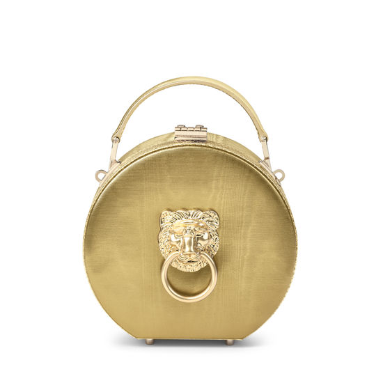 Lion Hat Box in Multi Gold Moire Leather from Aspinal of London