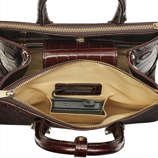 Midi Madison Tote in Deep Shine Amazon Brown Croc from Aspinal of London