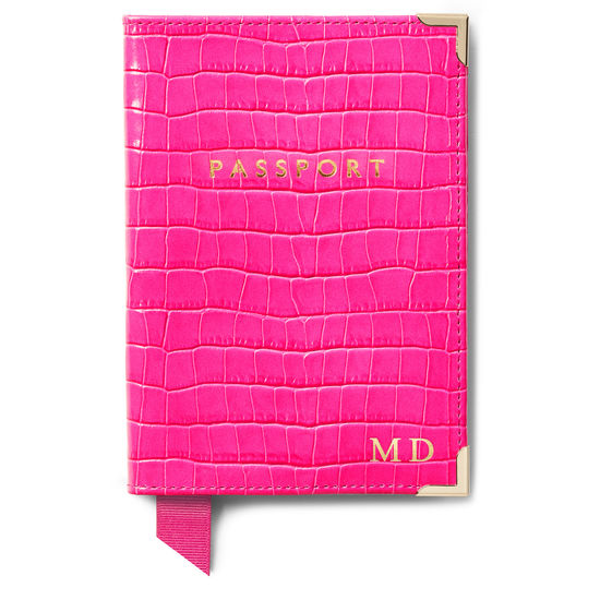 Classic Travel Collection in Penelope Pink Small Croc from Aspinal of London