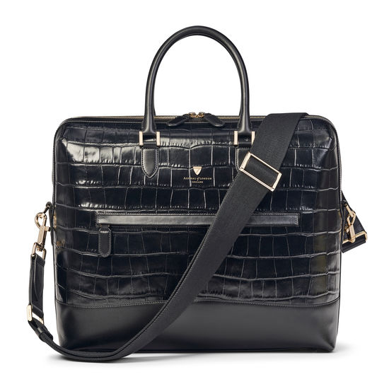 City Structured Briefcase in Black Soft Croc from Aspinal of London