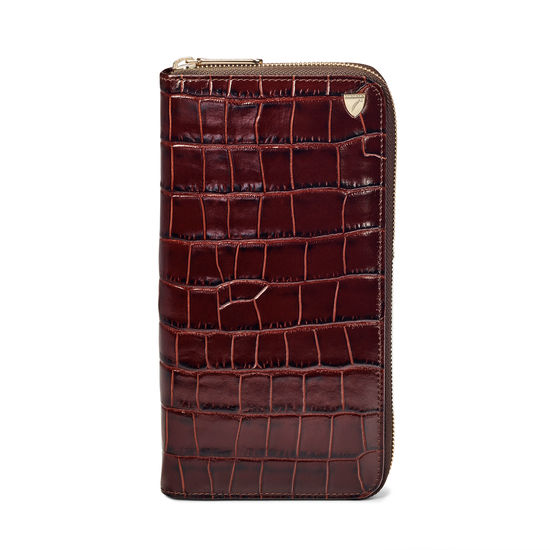 Zipped Travel Wallet in Deep Shine Amazon Brown Croc & Stone Suede from Aspinal of London