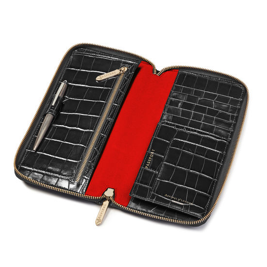 Zipped Travel Wallet in Deep Shine Black Croc & Red Suede from Aspinal of London