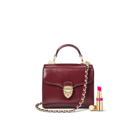 Mini Mayfair Bag in Bordeaux Silk Lizard from Aspinal of London