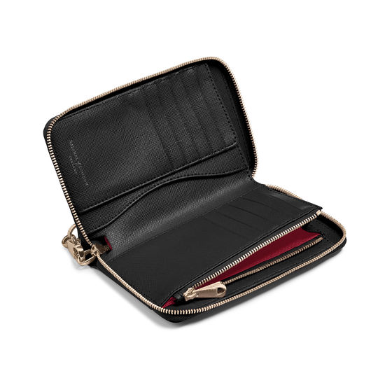 Midi Continental Wallet with Wrist Strap in Black Saffiano from Aspinal of London