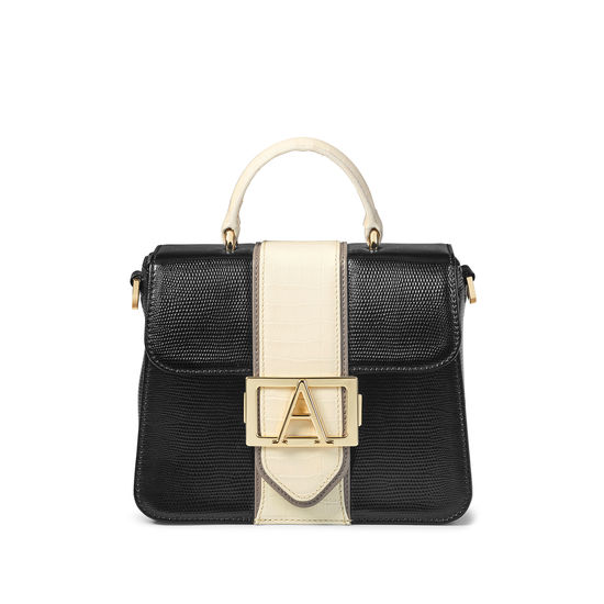 Annabelle Bag in Black Silk Lizard & Multi Trim from Aspinal of London