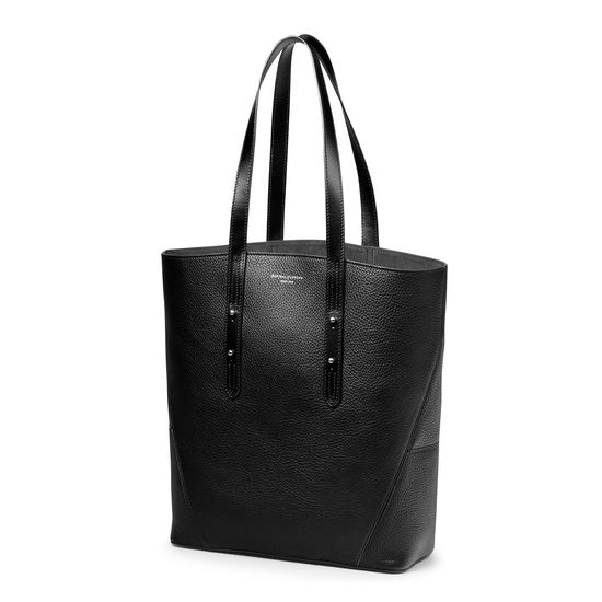 Essential 'A' Tote in Black Pebble from Aspinal of London