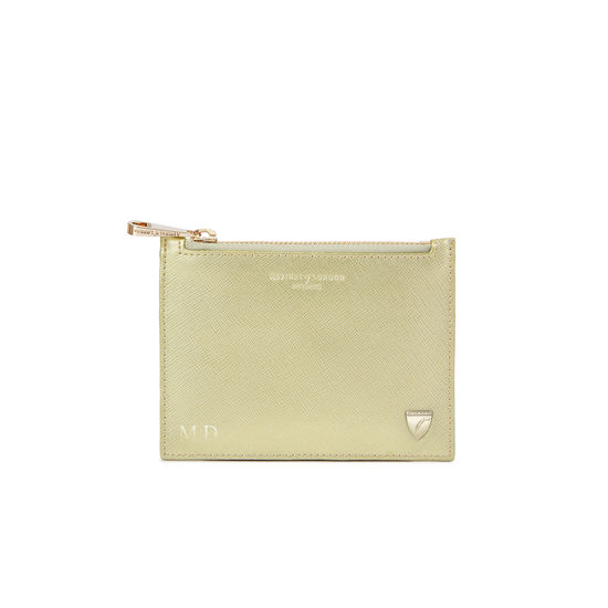 Small Essential Flat Pouch in Gold Saffiano from Aspinal of London