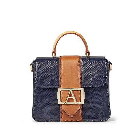 Annabelle Bag Midnight Blue Silk Lizard & Multi Trim from Aspinal of London