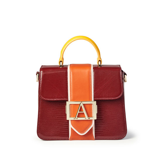Annabelle Bag in Bordeaux Silk Lizard & Multi Trim from Aspinal of London
