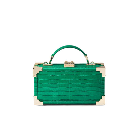Trinket Box in Deep Shine Emerald Green Small Croc from Aspinal of London