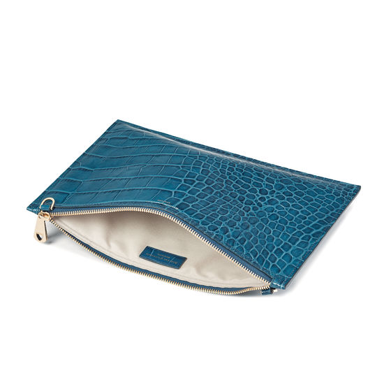 Soho Clutch in Deep Shine Topaz Soft Croc from Aspinal of London