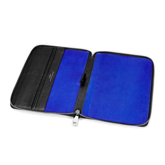 A5 Zipped Padfolio in Black Saffiano & Cobalt Blue Suede from Aspinal of London