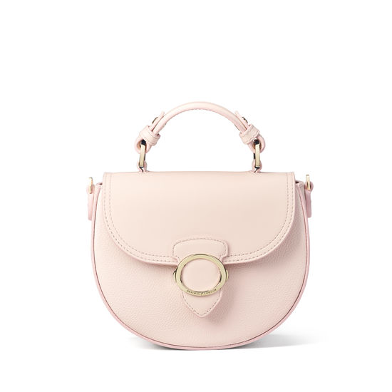 Saddle Bag in Shell Pink Small Grain Pebble from Aspinal of London