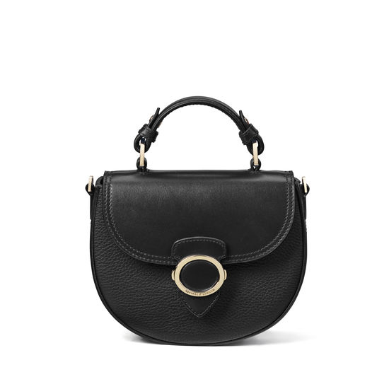 Saddle Bag in Black Pebble from Aspinal of London