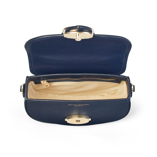 Saddle Bag in Navy Pebble from Aspinal of London