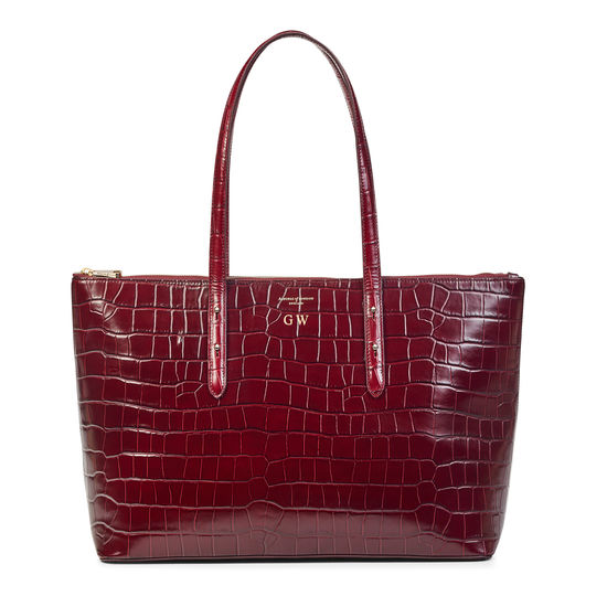 Zipped Regent Tote in Deep Shine Bordeaux Croc from Aspinal of London
