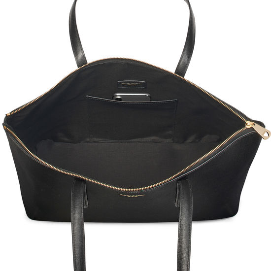 Zipped Regent Tote in Black Saffiano from Aspinal of London