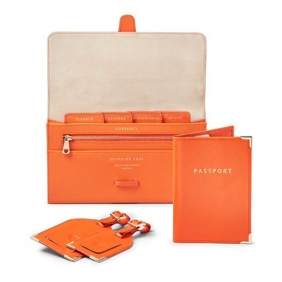 Classic Travel Collection in Bright Orange Saffiano & Stone Suede from Aspinal of London