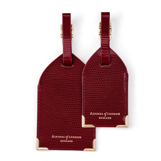 Set of 2 Luggage Tags in Bordeaux Silk Lizard from Aspinal of London