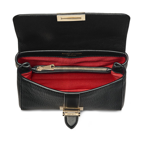 Lottie Bag with Top Handle in Black Pebble from Aspinal of London