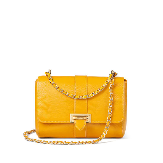 Lottie Bag with Top Handle in Bright Mustard Silk Lizard from Aspinal of London