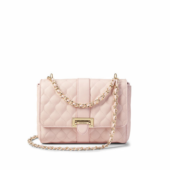 Lottie Bag with Top Handle in Shell Pink Quilted Kaviar from Aspinal of London