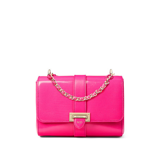 Lottie Bag with Top Handle in Penelope Pink Silk Lizard from Aspinal of London