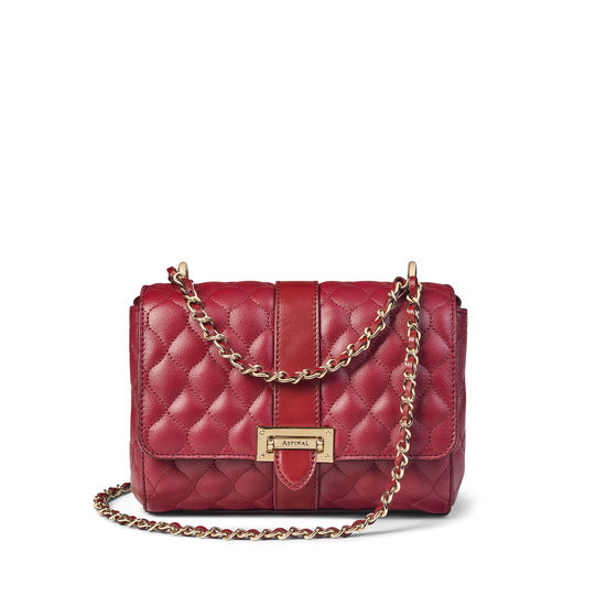 Lottie Bag with Top Handle in Bordeaux Quilted Kaviar from Aspinal of London