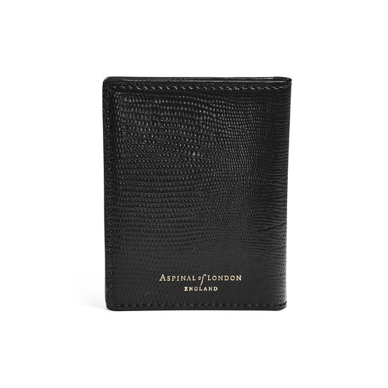 ID & Travel Card Holder in Black Silk Lizard from Aspinal of London