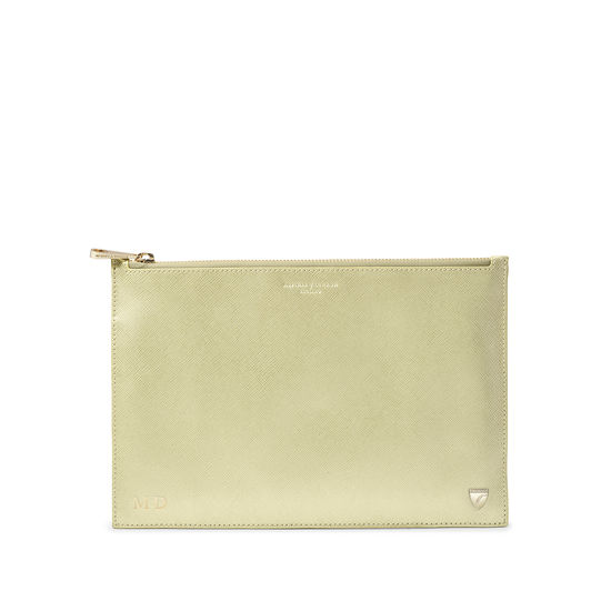 Large Essential Flat Pouch in Gold Saffiano from Aspinal of London