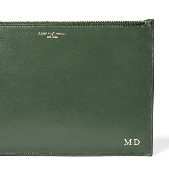 Large Essential Flat Pouch in Smooth Sage from Aspinal of London