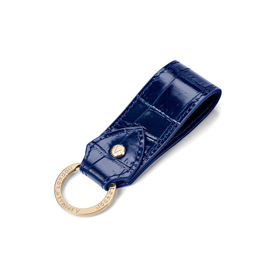 Leather Loop Keyring in Navy Croc from Aspinal of London