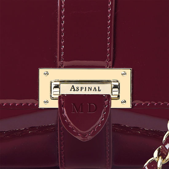 Micro Lottie Bag in Deep Shine Cherry Patent from Aspinal of London