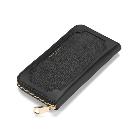 Marylebone Purse in Black Pebble & Smooth Black from Aspinal of London