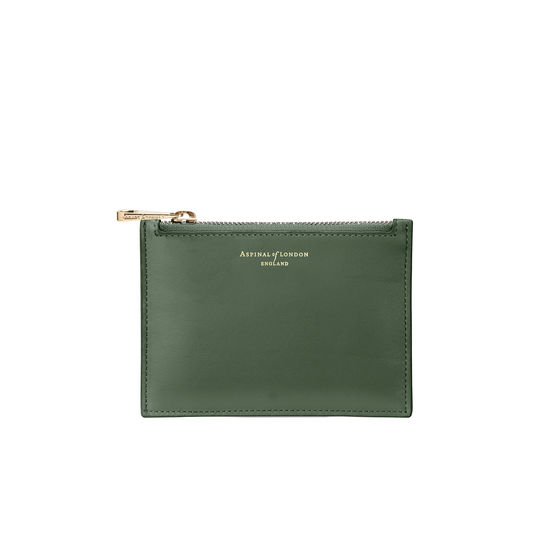 Small Essential Flat Pouch in Smooth Sage from Aspinal of London