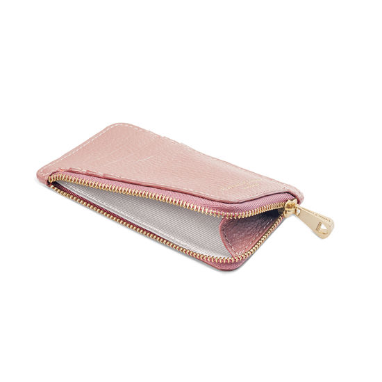 Zipped Coin & Card Holder in Bloomsbury Small Grain Pebble from Aspinal of London