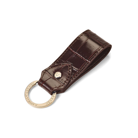 Leather Loop Keyring in Deep Shine Amazon Brown Croc from Aspinal of London